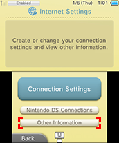 Other Information option being highlighted on the Internet Settings Menu screen