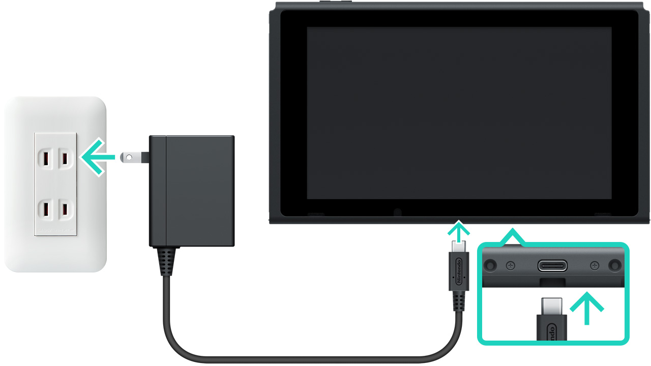 Nintendo Switch First Time Setup And Connection Support Wiring A Off Plug Connect The Usb From Ac Adapter Into Connector On Bottom Of Console Then Wall