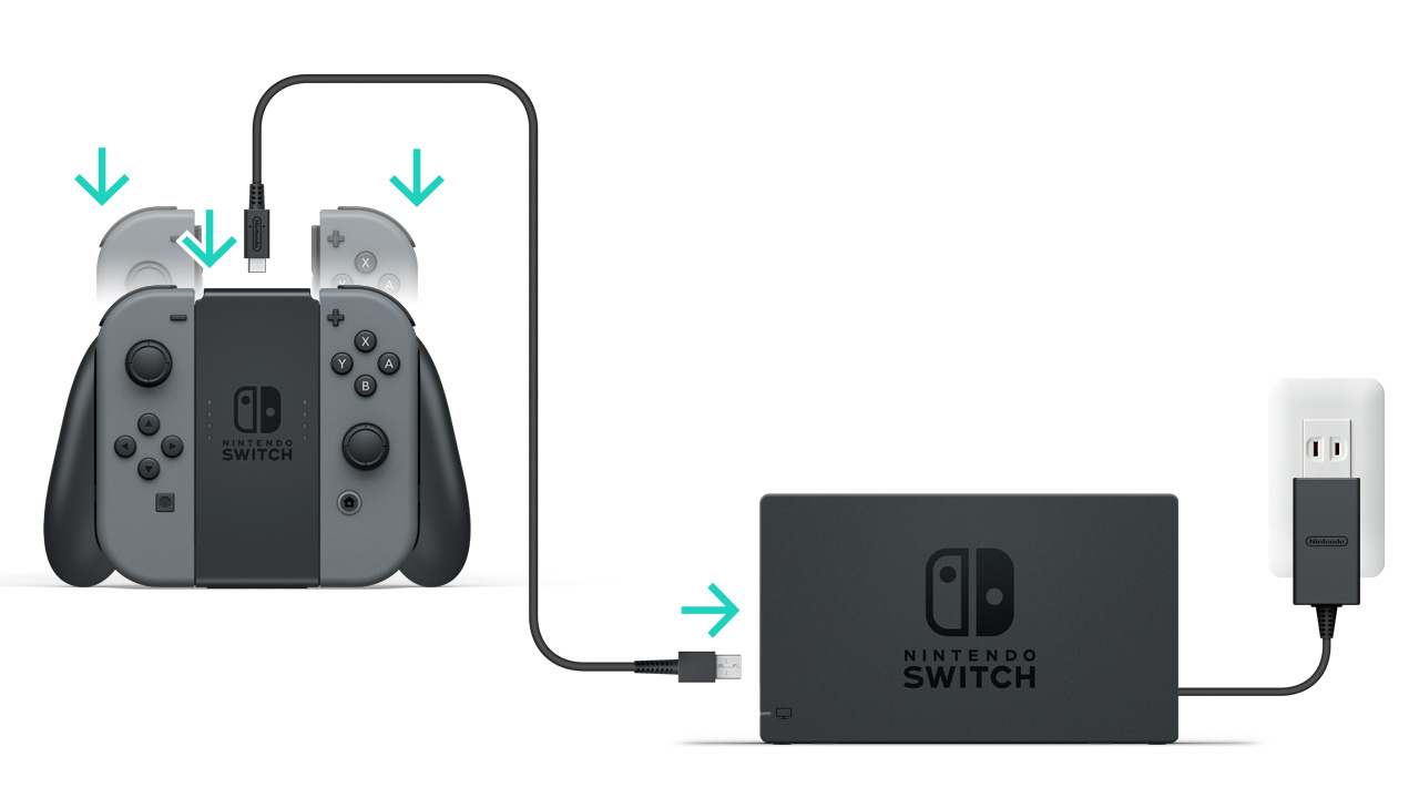 How To Charge The Joy Con Controllers Nintendo Support 2 Way Manual Usb Switch Box Connect Charging Grip Dock Using Cable That Was Included With Or It Directly