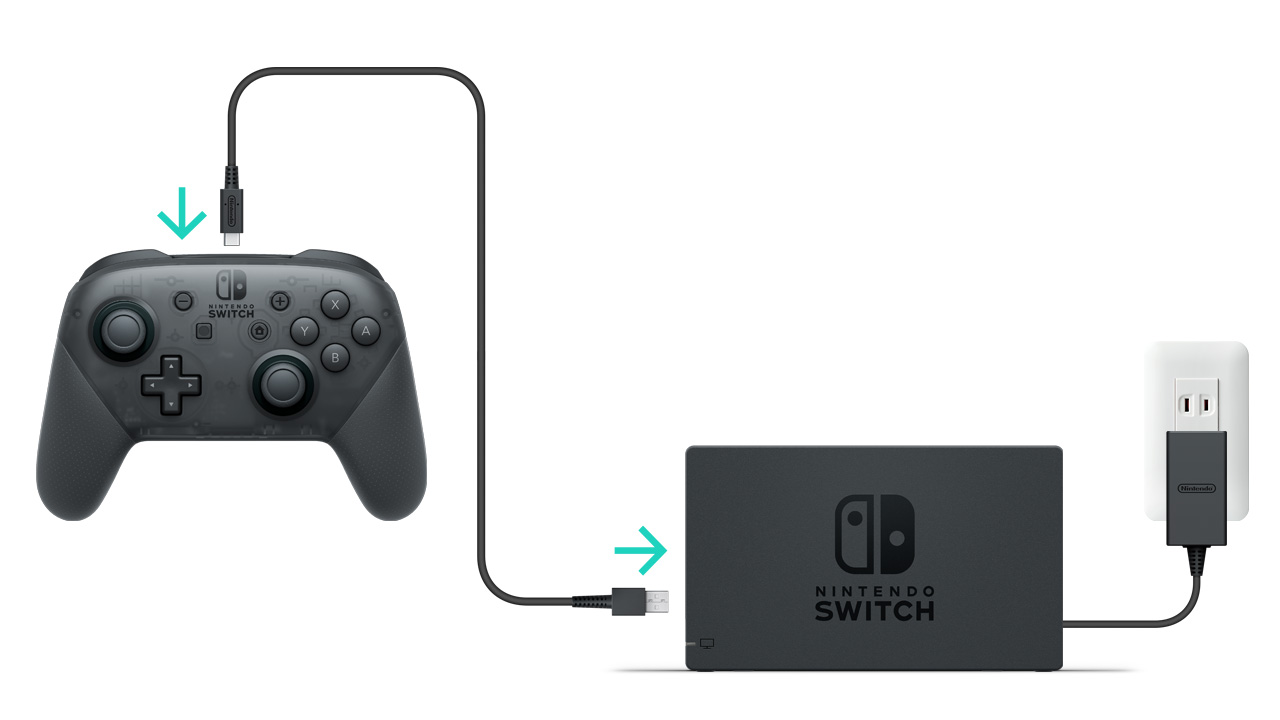 How To Charge The Nintendo Switch Pro Controller Support Wiring An Outlet Then Light Connect Usb Charging Cable Model No Hac 010 Included With And Available Port On Dock