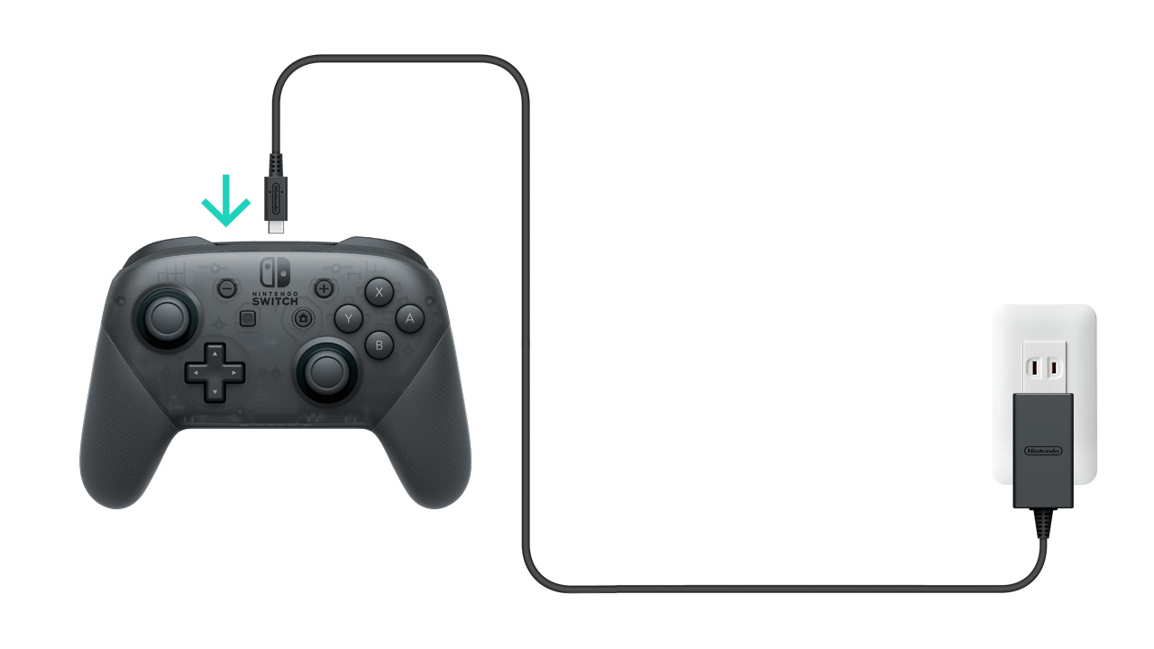 How To Charge The Nintendo Switch Pro Controller Support Wiring With Plug Connect Ac Adapter Model No Hac 002 Directly And Then A Wall Outlet